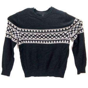 Express Black Tan Crew Striped Wool blend Sweater